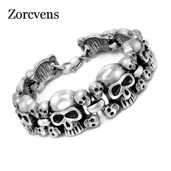CHAIN SKULL MOTORCYCLE STAINLESS STEEL BRACELET - Hey Magento