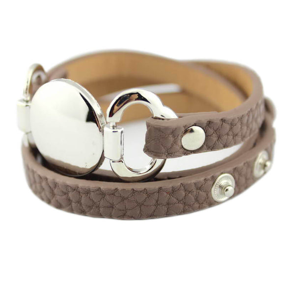TRENDY LEATHER WRAP SILVER BRACELET - 13 COLOUR CHOICES - 1PC