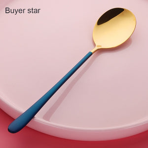 2PCS GOLD/ SILVER STAINLESS STEEL LONG HANDLE DESSERT SPOON - Hey Magento