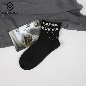 WOMEN AND GIRL HANDMADE PEARL GOLD SILVER BEAD COTTON EDGE SOCKS