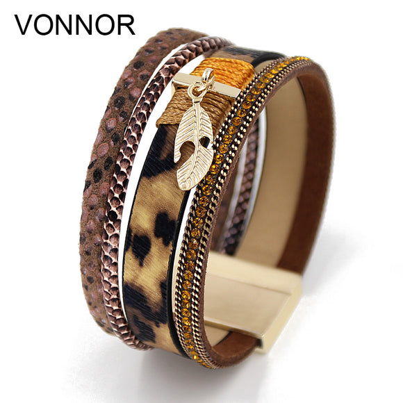 LEATHER RIBBONS MULTILAYER SNAKE PATTERN - 3 COLOUR CHOIUCE - 1PC