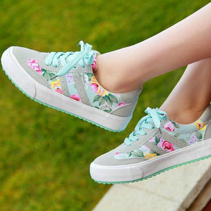 CASUAL SNEAKERS FLORAL PRINT - 3 COLOUR CHOICE - 8 SIZES - Hey Magento