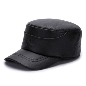 GENUINE 100% LEATHER MILITARY HAT - 2 COLOURS - 3 SIZES