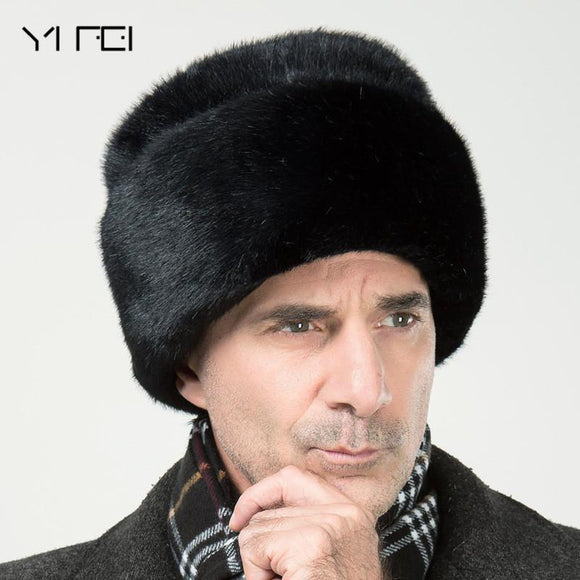 RUSSIAN COSSACK - IMITATION MINK FUR BLACK SOLID THICKEN EARFLAP HAT - Hey Magento