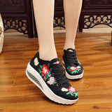 FLORAL EMBROIDERY CANVAS FLAT SHOES - 5 SIZE CHOICE - 15 COLOUR CHOICE