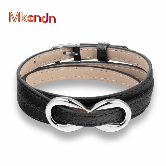 INFINITY GENUINE LEATHER BRACELET - 2 COLOUR CHOICES - 1 PC