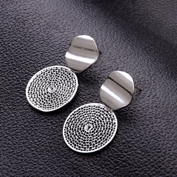 FASHION DROP EARRINGS HOLLOW ROUND - 2 COLOUR CHOICES - 1PC - Hey Magento