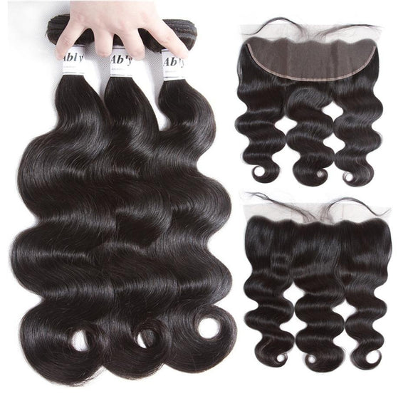 BRAZILIAN REMY HUMAN HAIR PLUCKED LACE FRONTAL CLOSURE WITH BUNDLES BODYWAVE - Hey Magento