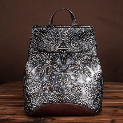 WOMEN EMBOSSED VINTAGE LEATHER BACK PACK BAG - Hey Magento