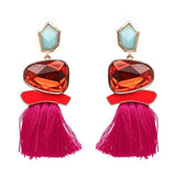 FRINGED STATEMENT EARRINGS WEDDING TASSEL MULTICOLOURED STUD - 19 COLOUR CHOICE - 1PC - Hey Magento