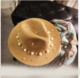 SUMMER BRITISH PEARL BEADING FLAT BRIMMED - 4 COLOUR CHOICES - 1PC