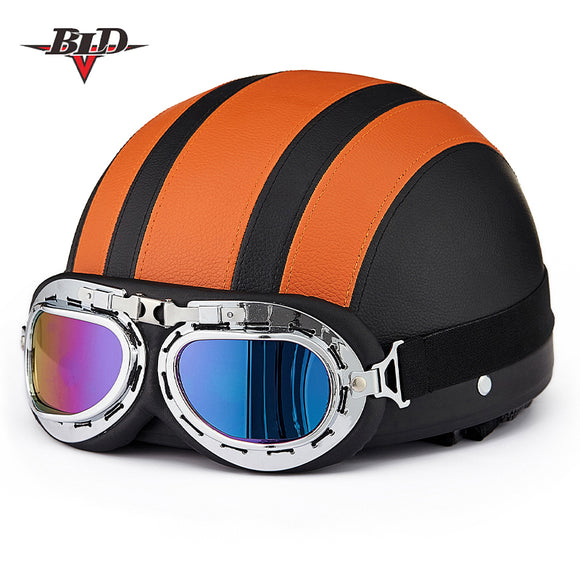 SYNTHETIC LEATHER VINATGE MOTORCYCLE HELMET WITH GOGGLES & VISOR - 10 COLOURS - Hey Magento