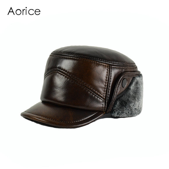 GENUINE LEATHER BASEBALL WINTER HAT - EAR FLAPS - 2 COLOURS - 3 SIZES
