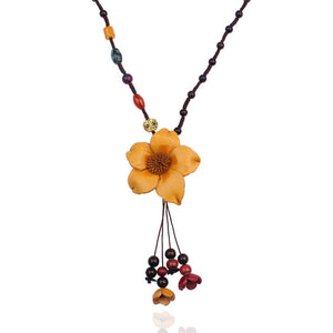 HANDMADE GENUINE LEATHER FLOWER WOOD BEAD NECKLACE - 4 COLOURS - 1PC