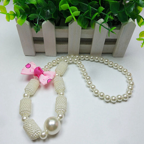 BEADS AND BOW NECKLACE  IMITATION PEARLS - 2 COLOURS - 1PC - Hey Magento
