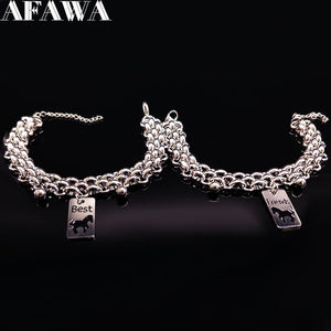 STAINLESS STEEL SILVER COLOUR HORSE BRACELET