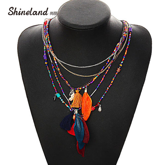 MULTI COLOUR FEATHER NECKLACE PENDANT BEAD ETHNIC JEWELRY - 4 COLOUR CHOICE - 1 PC