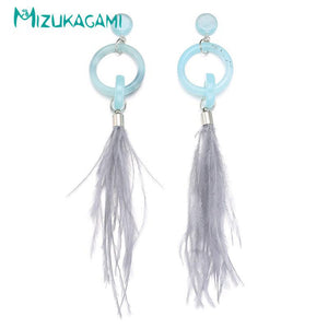 WIND FEATHER BLUE MINIMALIST EARRINGS