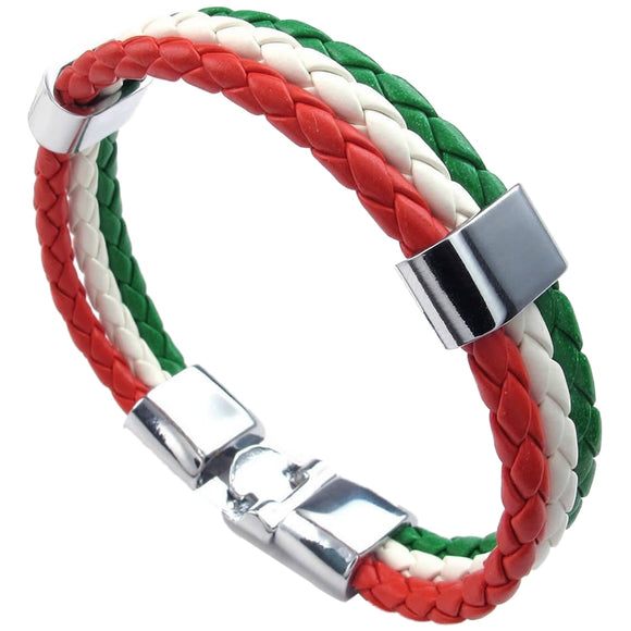 ITALIAN FLAG BRACELET LEATHER ALLOY