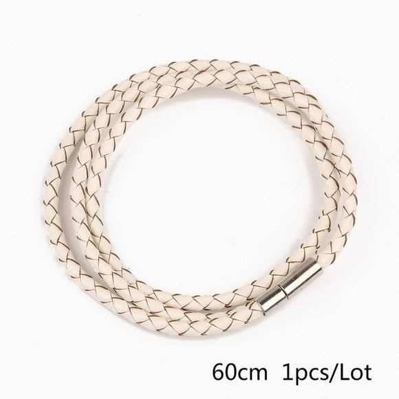 60CM BRAIDED LEATHER MAGNETIC CLASP BRACELET - 11 COLOUR CHOICES - 1PC - Hey Magento