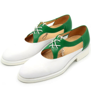 GENUINE LEATHER GREEN SLICED HOLLOW OUT MENS SHOES