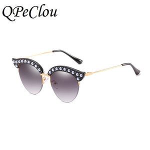 PEARL CAT EYE LUXURY DIAMOND HALF FRAME SUNGLASSES