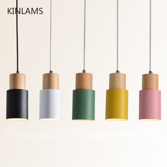 Designer Nordic simple Wood Pendant Lights led hang lamp Colorful Aluminum fixture  Kitchen Island bar hotel home decor E27 - Hey Magento