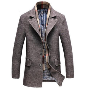 CASUAL WOOL TRENCH COAT LONG SLIM JACKET - Hey Magento
