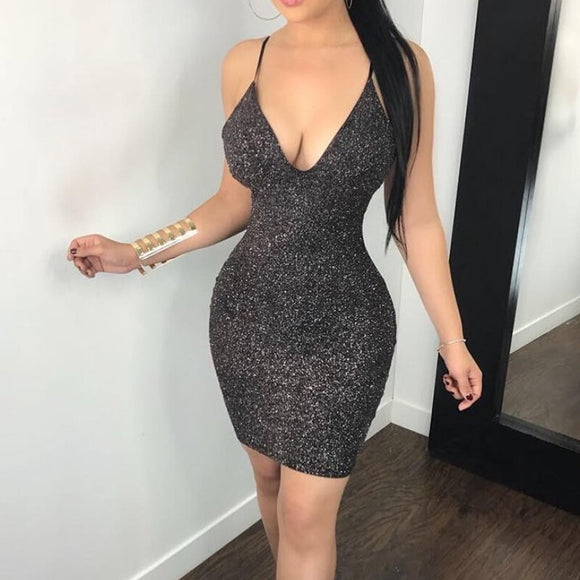 GREY SILVER BODYCON V NECK SEXY PENCIL BACKLESS SHORT MINIDRESS