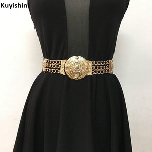 GOLD WAIST ELASTIC METAL KNITTED BELT - Hey Magento