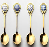 4PCS GOLD VINTAGE STAINLESS STEEL INLAY CERAMIC HANDLE DESSERT SPOON - Hey Magento