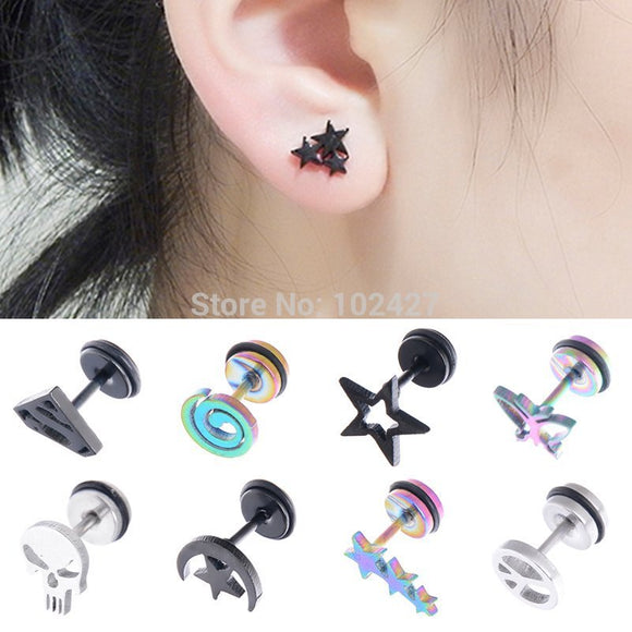 EARINGS - GOTH, PUNK, SWIRL, STAR , SKULL STEEL STUD EARRINGS - 36 CHOICES - Hey Magento