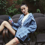 WILD SPLICED DENIM JEANS JACKET DRESS