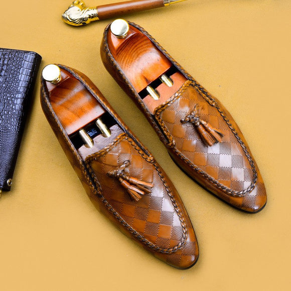 MEN GENUINE LEATHER BROGUE SLIP ON SHOE
