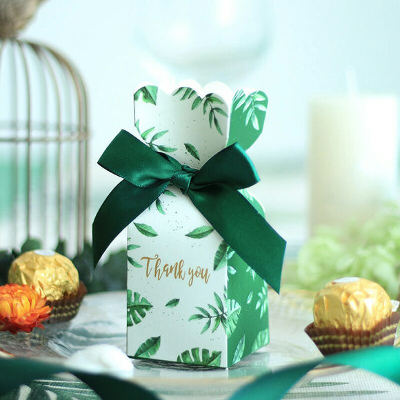 GIFT DECORATION GREEN PAPER CANDY BOXES
