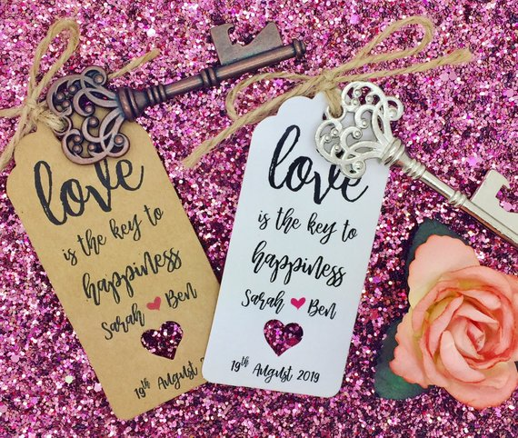 PERSONALISED TEXT BOTTLE OPENER WEDDING FAVOUR TAG