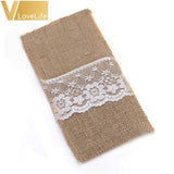 10PCS BURLAP CUTLERY HOLDER LACE SET - Hey Magento