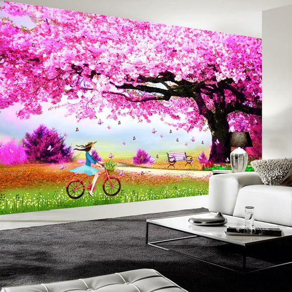 ROMANTIC CHERRY BLOSSOM 3D MURAL WALLPAPER