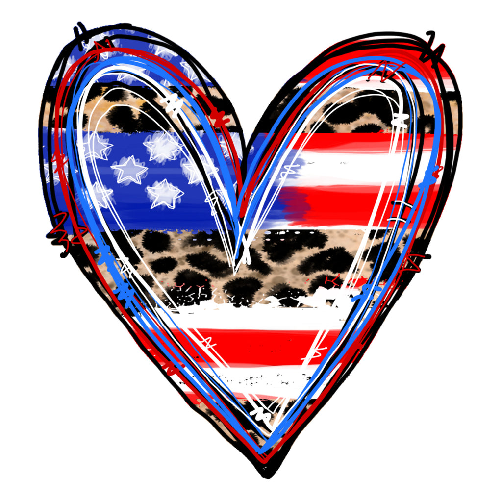 American Flag and Leopard Heart