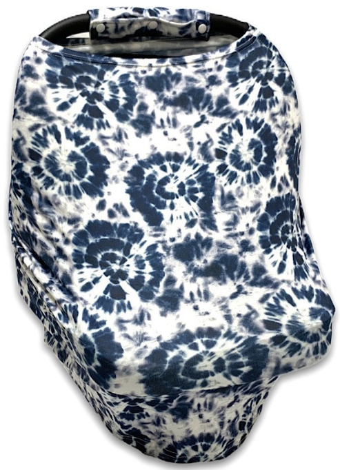 Navy Tie-Dye Newborn Set (Car Seat Cover and Minky Blanket)