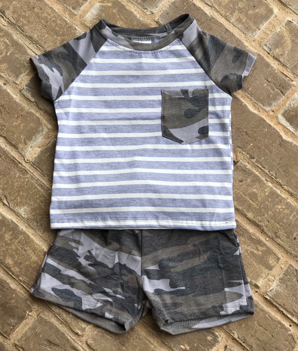 Camo & Stripes Shorts Set