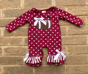 Football and Bows Ruffle Romper