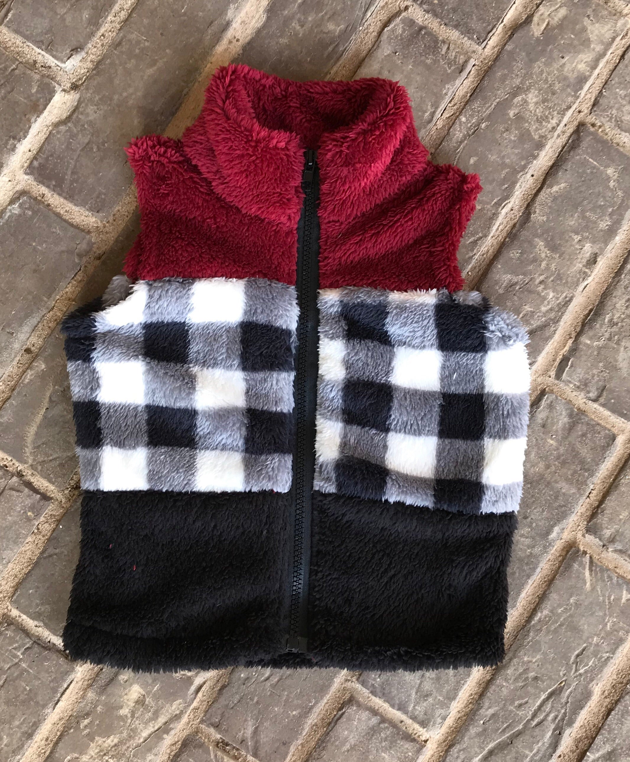 Sherpa Vest with Black/White check