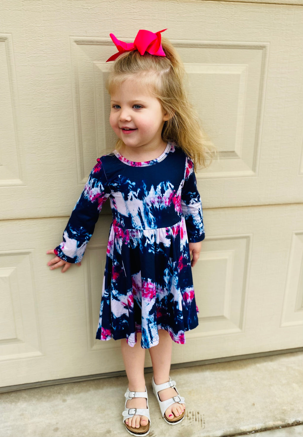 Navy and Pink Tie-Dye Twirl Dress