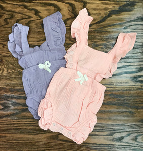 Lilac and Peach Rompers