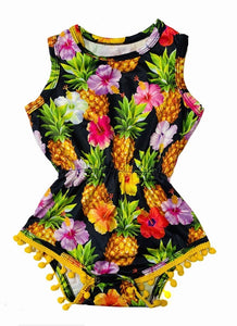 Pineapple and Tropical Flowers Pom Pom Romper