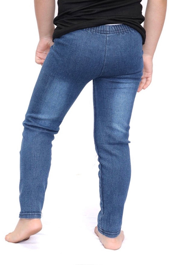 Ripped/ Distressed Jeggings (Dark Denim)