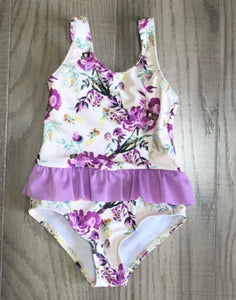 Ivory Floral Printed Swimsuit