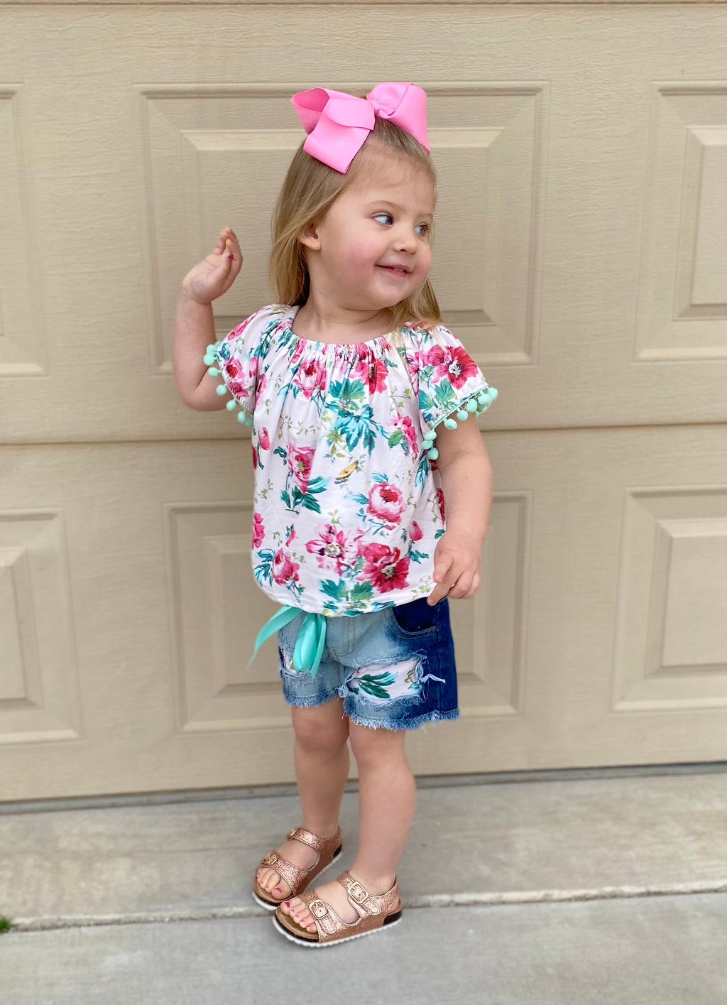 Floral Pom Top & Denim Shorts Set