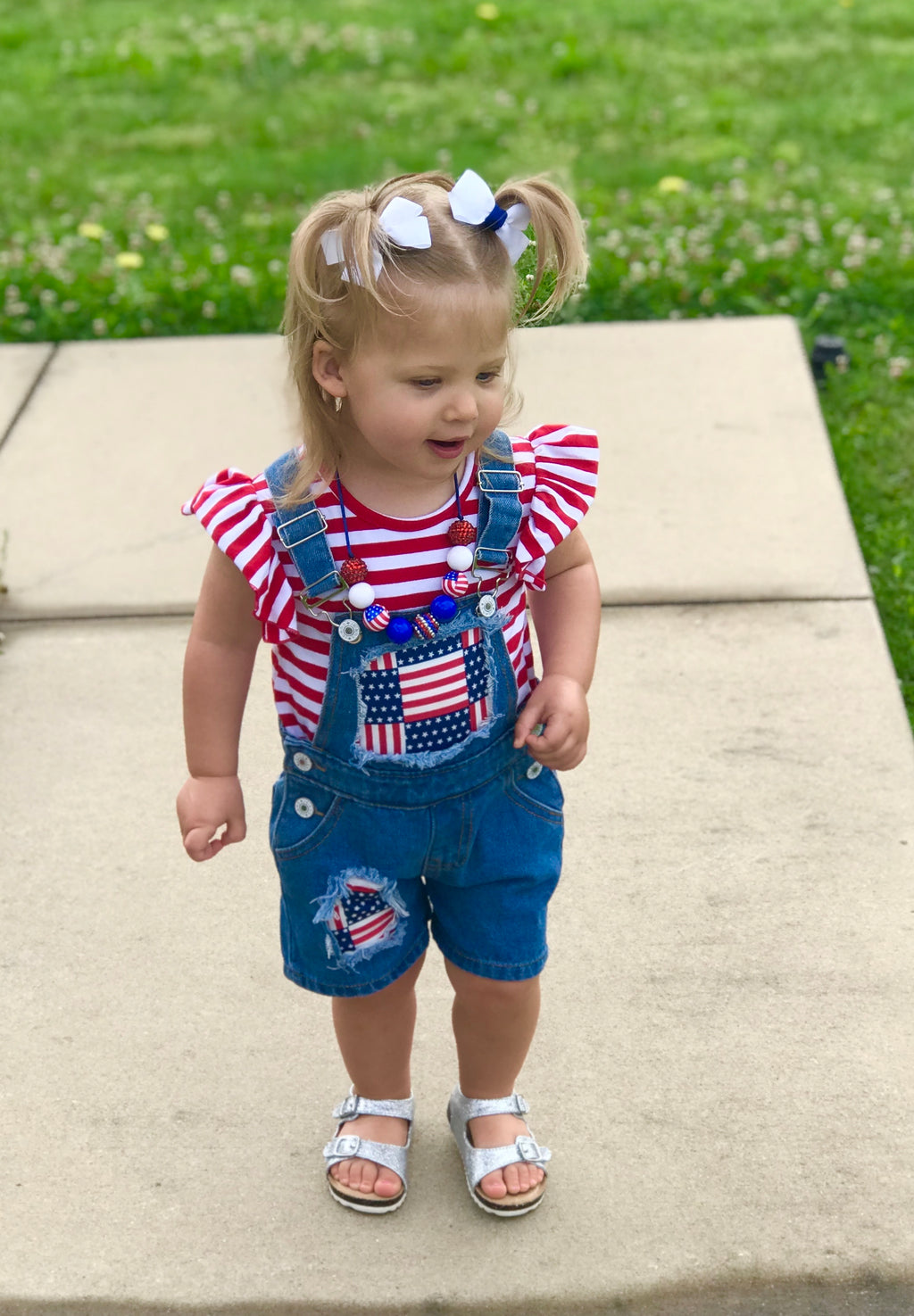 Patriotic Overall Shorts Set